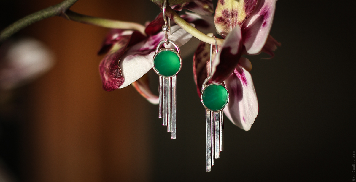 Art Deco Green Onyx and Silver Earrings